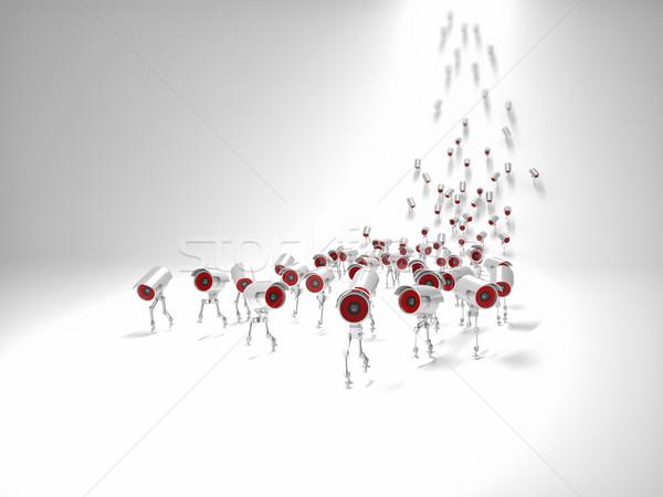 Cctv 3D kép fut absztrakt tömeg Stock fotó © tiero