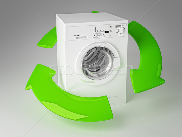Stock photo: recycle washing machine 3d