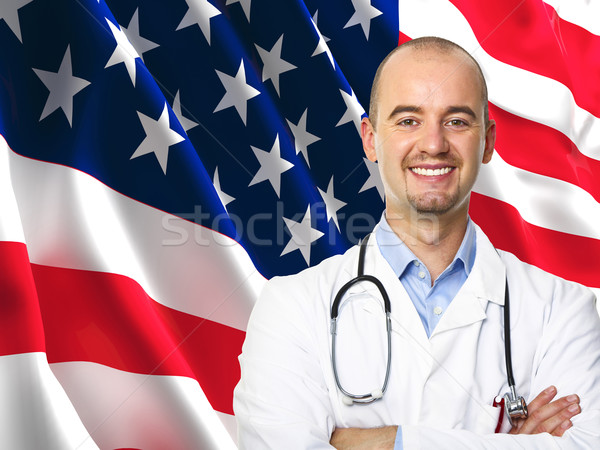 Eski şan bayrak doktor 3D görüntü Stok fotoğraf © tiero