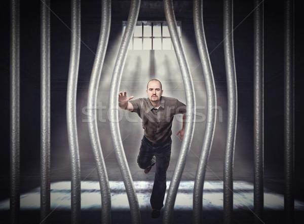 Kaçış hapis adam pencere bar çalışma Stok fotoğraf © tiero