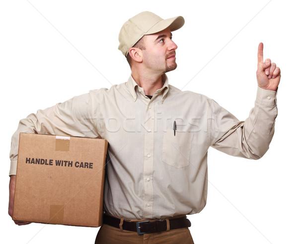 Mensajero paquete aislado blanco hombre feliz Foto stock © tiero