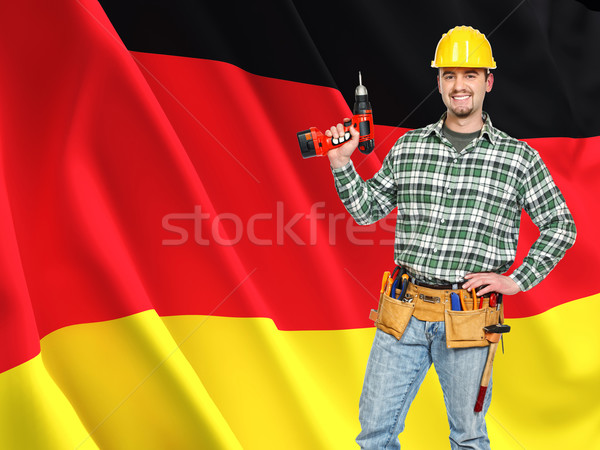 german flag and worker Stock photo © tiero
