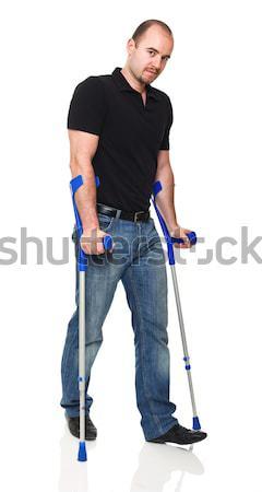 Homem muleta isolado branco médico medicina Foto stock © tiero
