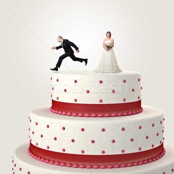 Flucht Hochzeit springen top Kuchen Frau Stock foto © tiero