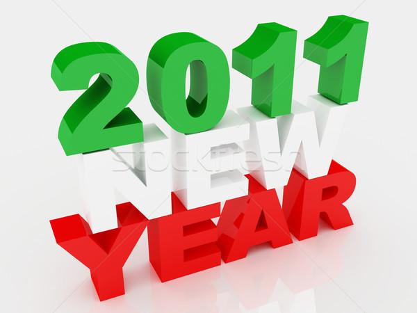 Drapeau italien nouvelle année jour 3D 2011 résumé Photo stock © tiero
