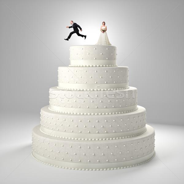 Vicces esküvői torta klasszikus vőlegény menyasszony esküvő Stock fotó © tiero