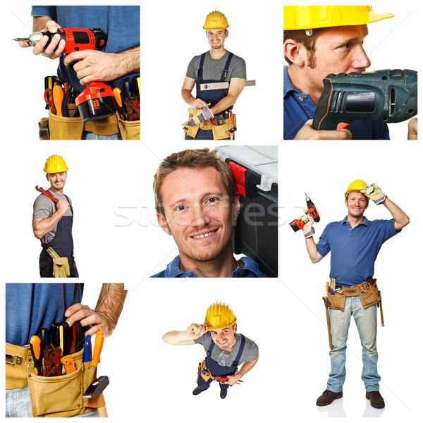 happy worker on white background Stock photo © tiero