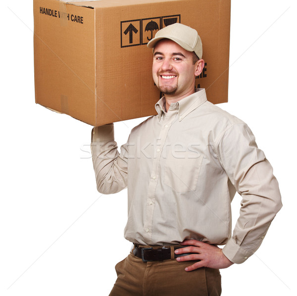 Amistoso mensajero sonriendo aislado blanco hombre Foto stock © tiero