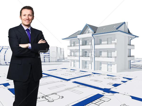Foto stock: 3D · casa · trabajador · pie · empresario · edificio