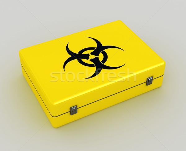 Bioveszély 3D citromsárga tok metafora kép Stock fotó © tiero