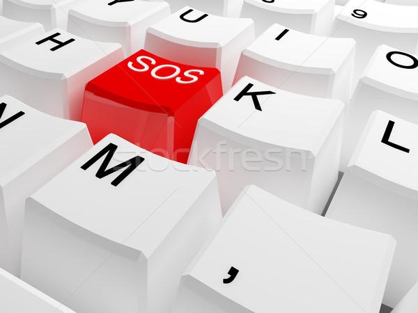 Sos teclado botão ilustração 3d negócio computador Foto stock © tiero