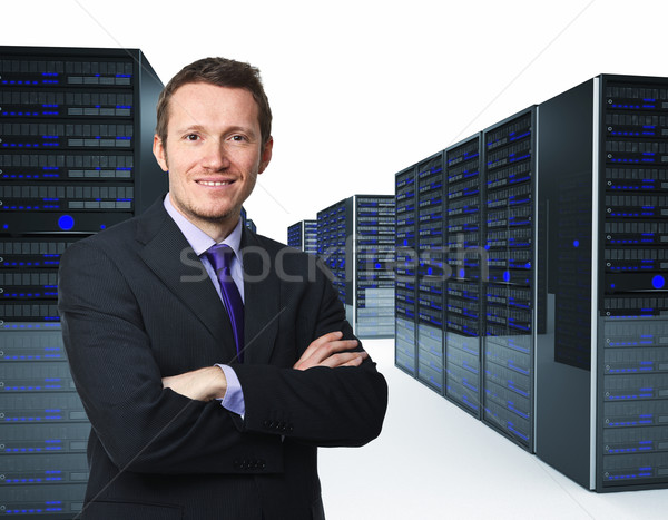 Man server armen 3D computer technologie Stockfoto © tiero