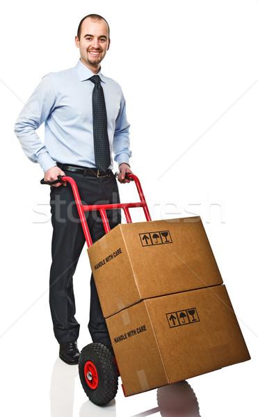 man with handtruck Stock photo © tiero