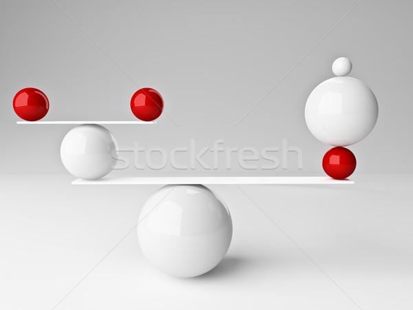 Сток-фото: идеальный · баланса · 3D · изображение · красный · белый