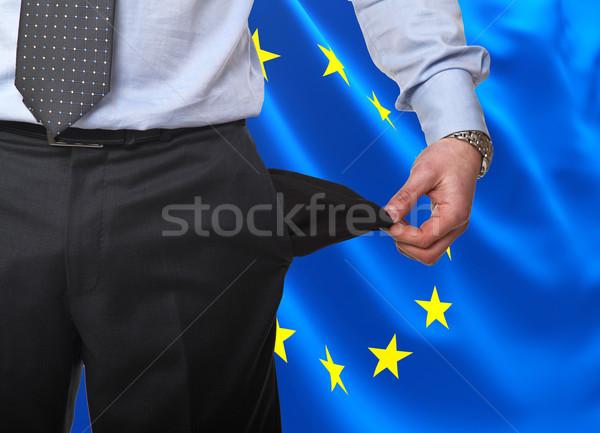 европейский рецессия человека шоу пусто кармана Сток-фото © tiero