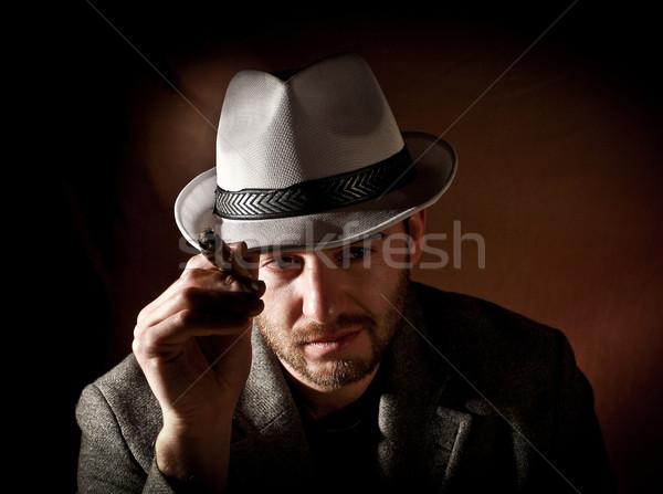 Gangster portre kafkas dinlenmek siyah genç Stok fotoğraf © tiero