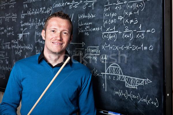 教師 学校 肖像 白人 黒板 笑顔 ストックフォト © tiero