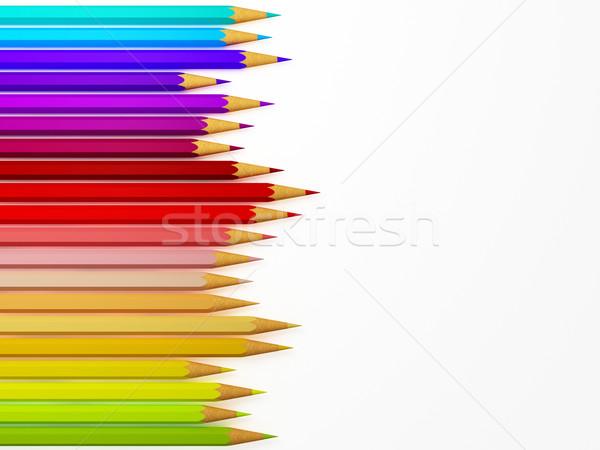 Színesceruza 3D kép fa iskola művészet Stock fotó © tiero