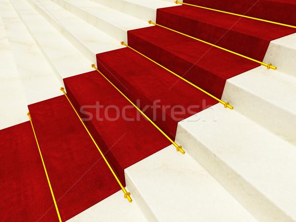 Alfombra roja 3D mármol escalera imagen resumen Foto stock © tiero