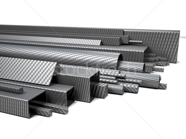 Koolstofvezel pijpen 3D afbeelding witte technologie Stockfoto © tiero