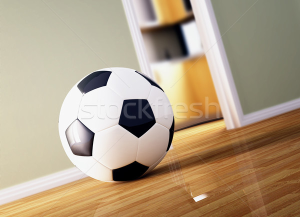 Futballabda faburkolat klasszikus bent fa otthon Stock fotó © tiero