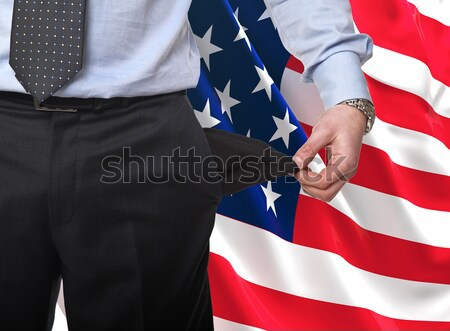 рецессия Америки человека шоу пусто кармана Сток-фото © tiero