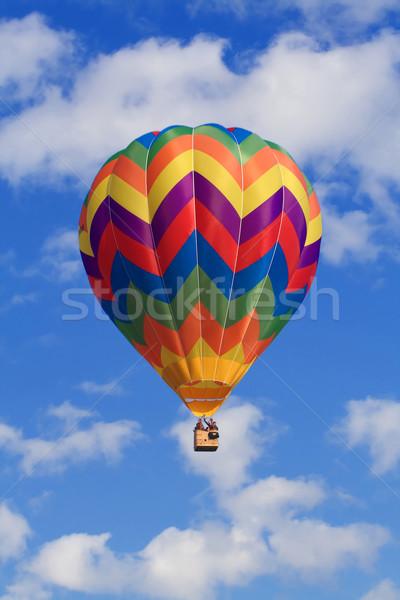 Stock fotó: Felhők · hőlégballon · kép · fehér · kék · ég · színes