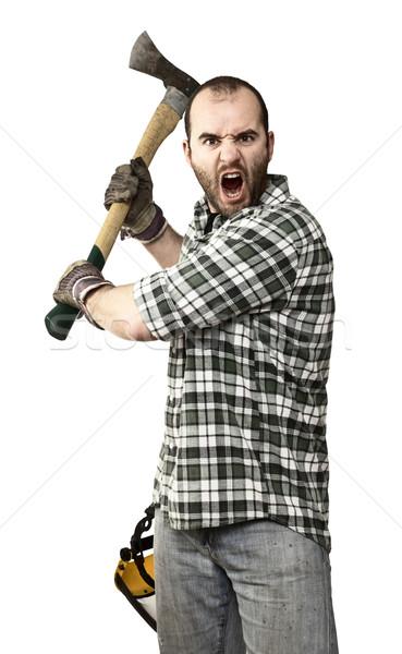 сердиться лесоруб портрет молодые кавказский топор Сток-фото © tiero