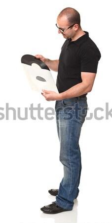 Oude muziek permanente man vintage Stockfoto © tiero