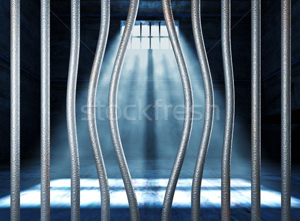 prison 3d and bended metal bar Stock photo © tiero