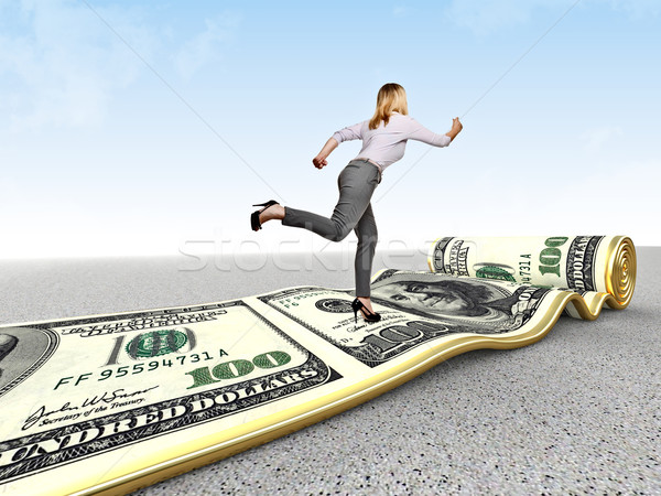 Stok fotoğraf: Para · çalıştırmak · kadın · dolar · halı · başarı