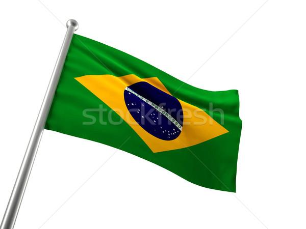 Brazylia banderą odizolowany biały tle zielone Zdjęcia stock © tiero
