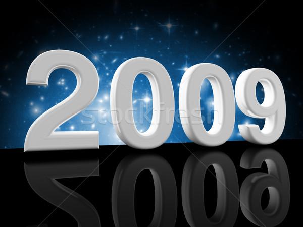 Mavi 2009 görüntü 3D kutlama parti Stok fotoğraf © tiero