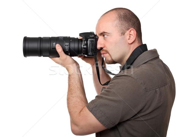パパラッチ 肖像 小さな カメラマン 孤立した 白 ストックフォト © tiero