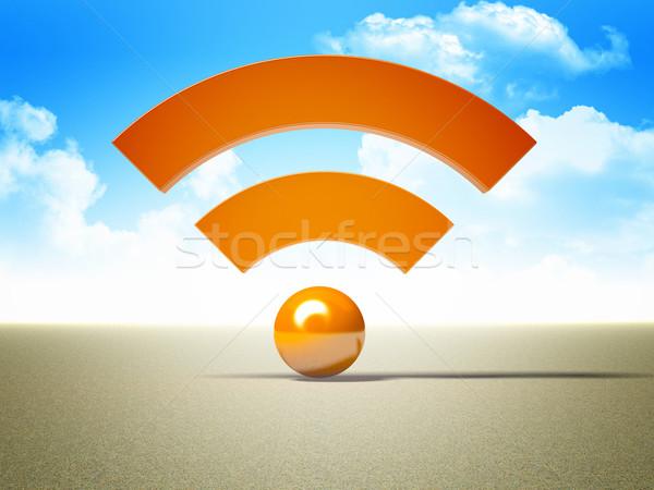 Rss logo 3D afbeelding symbool internet Stockfoto © tiero