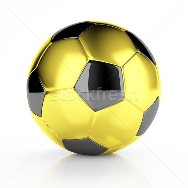 Foto stock: Dorado · balón · de · fútbol · 3D · imagen · clásico · metal
