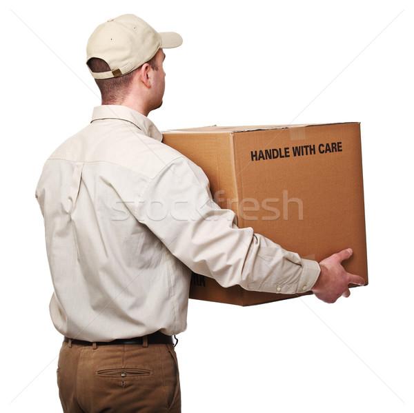 Stock fotó: Futár · csomag · hátsó · nézet · izolált · fehér · férfi