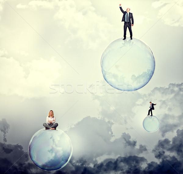 Burbuja sueños personas 3D pompas de jabón cielo Foto stock © tiero
