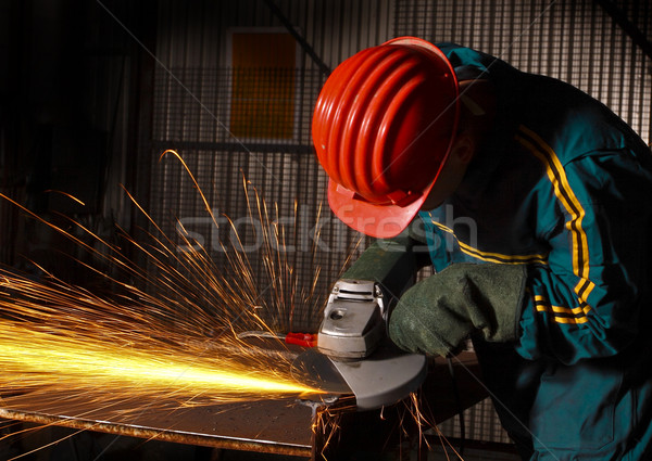 heavy industry manual worker with grinder 02 Stock photo © tiero