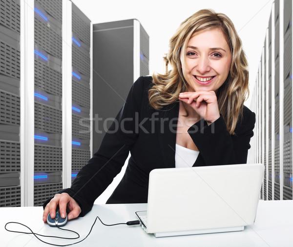 Virtuális szerver 3d nő 3D kép adatközpont Stock fotó © tiero