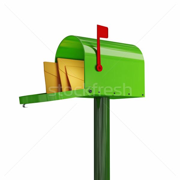 Groene mailbox 3D afbeelding klassiek envelop Stockfoto © tiero