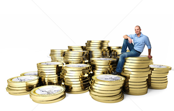 smiling man on euro coin  Stock photo © tiero