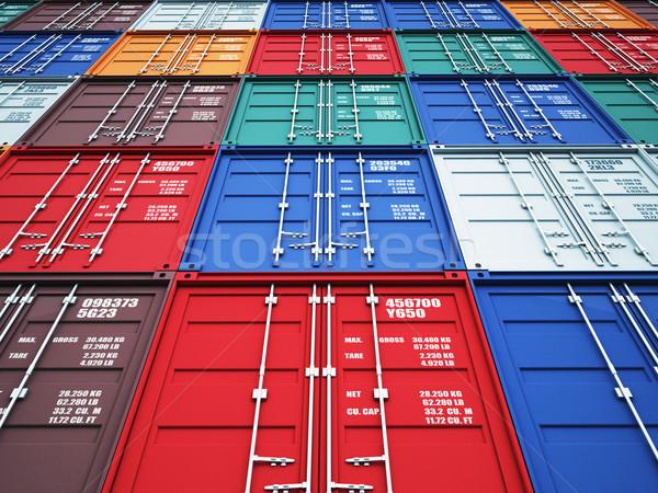 контейнера 3D изображение красочный окна промышленных Сток-фото © tiero