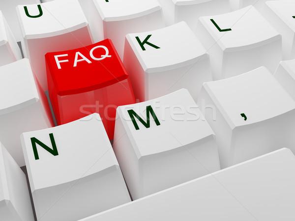 Faq vermelho botão 3D imagem branco Foto stock © tiero