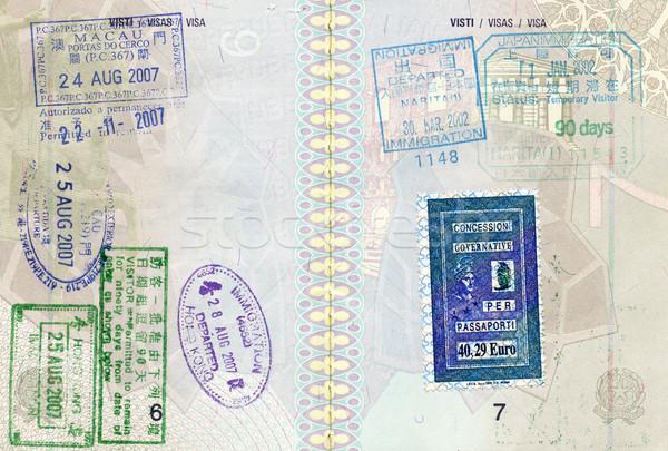 útlevél bélyeg kép háttér utazás vidék Stock fotó © tiero
