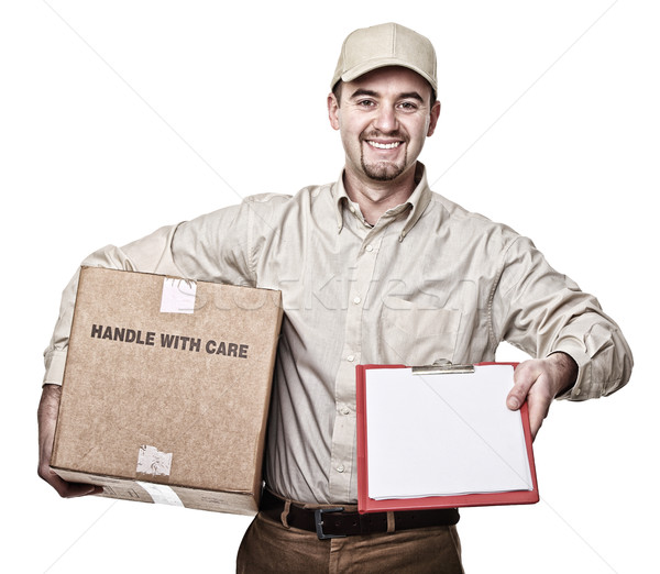 Stock photo: smiling delivery man