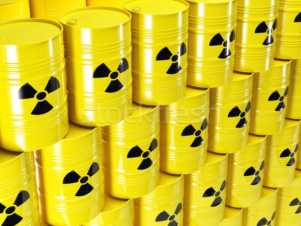 Radioactieve vat 3D Geel teken industrie Stockfoto © tiero