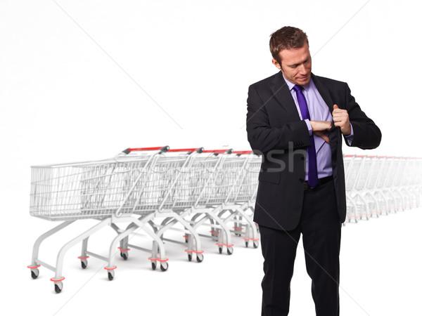 Nincs pénz vásárlás férfi néz pénztárca üzletember Stock fotó © tiero