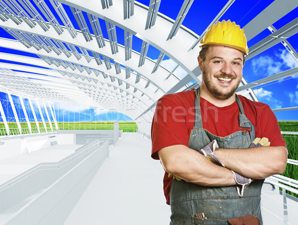 worker in green building Stock photo © tiero