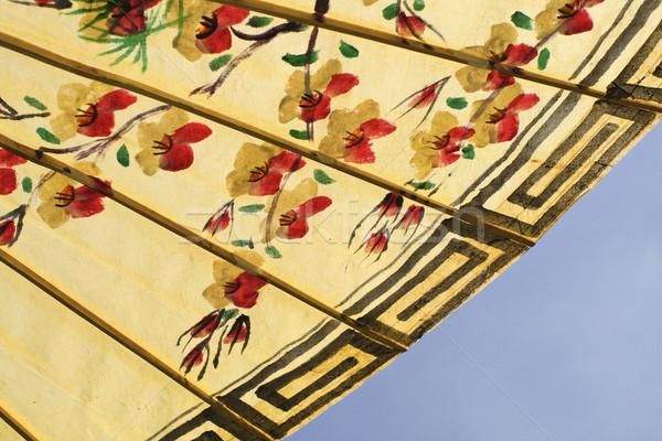 Foto stock: Asiático · guarda-chuva · pormenor · feito · à · mão · decorado
